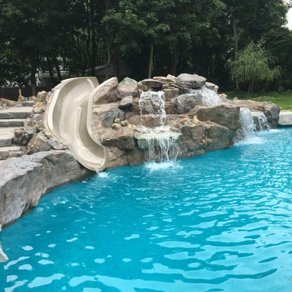 Luxury House Pool With Waterfall And Slides: Outdoor Water Features In Long Island, NY